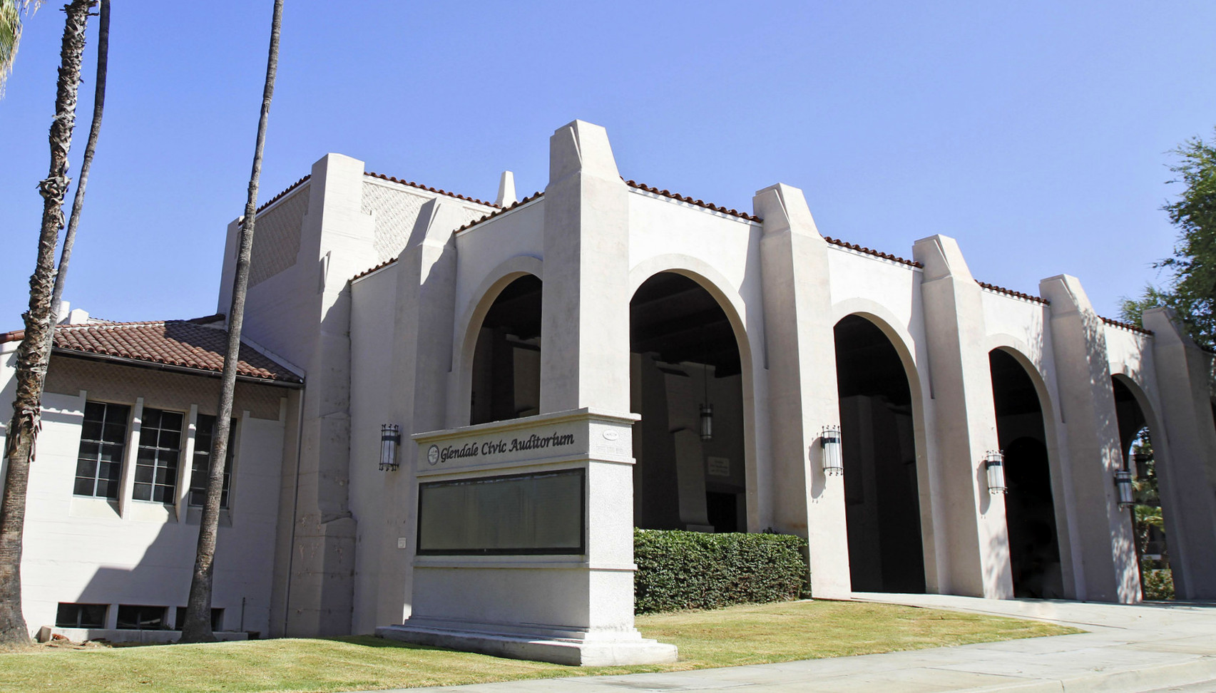 The charming and historic Glendale Civic Auditorium was built in 1938 in the Art Deco Spanish Colonial Revival style