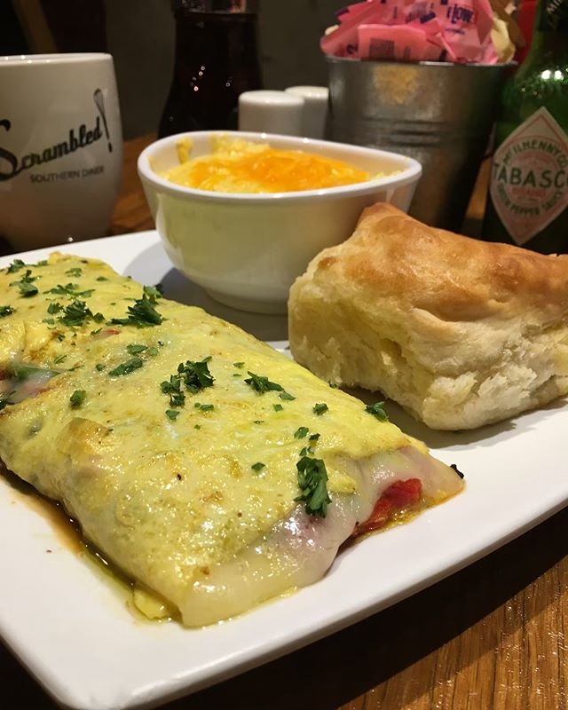 New week, new special! Ramp Veggie Omelet with ramps, peppers, black beans, tomatoes, spinach, and Swiss cheese topped with oil and parsley. Choose one of our delicious sides along with your choice of bread. #getscrambled