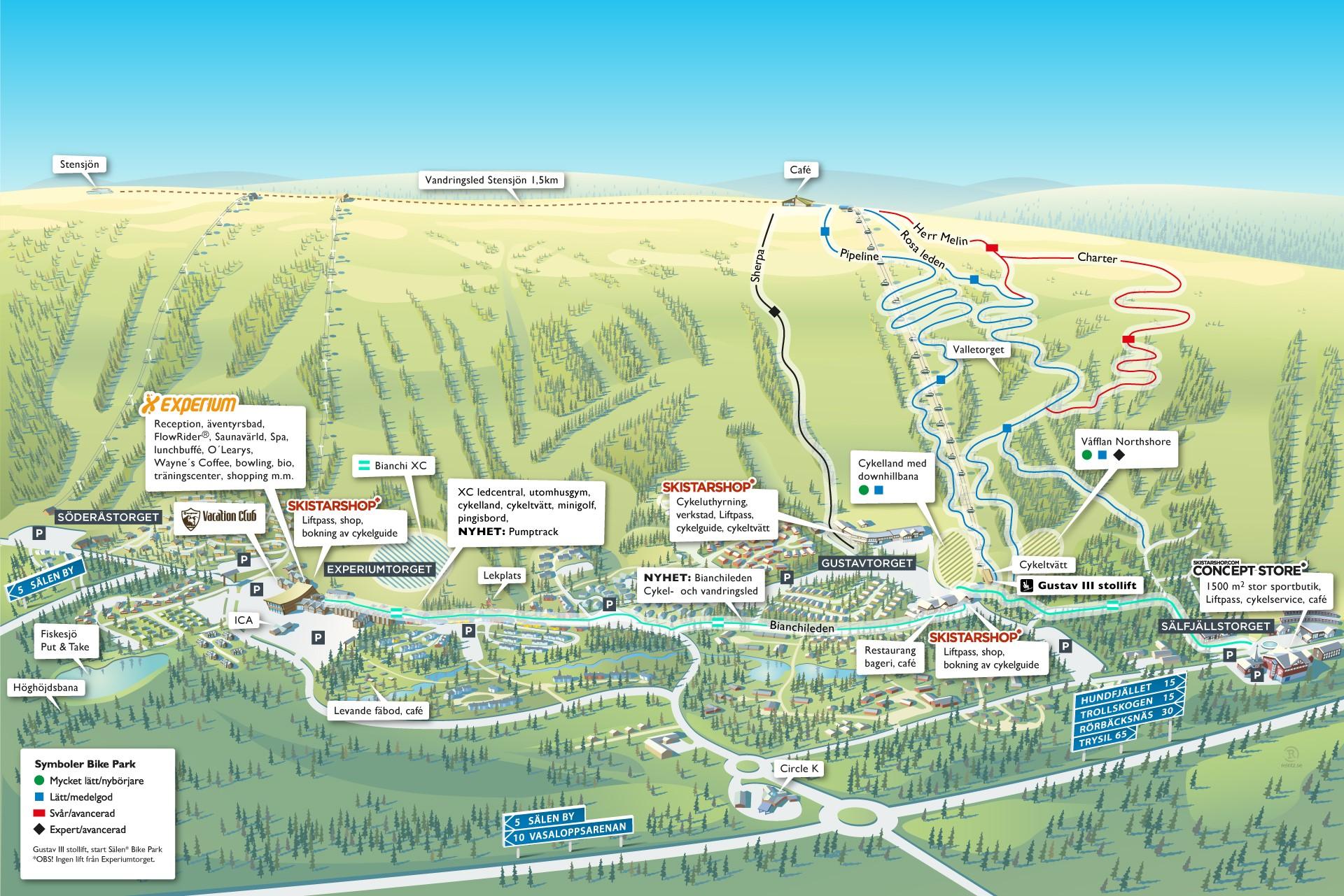All praktisk info för sommarcyklisten (klicka på bilden för större karta)    Källa: Skistar