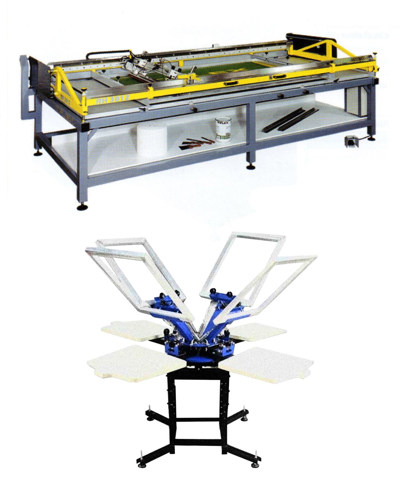 table TIFLEX à relevage horizontal pour impression des très grands formats et carrousel TIFLEX quatre couleurs pour l'impression des textiles