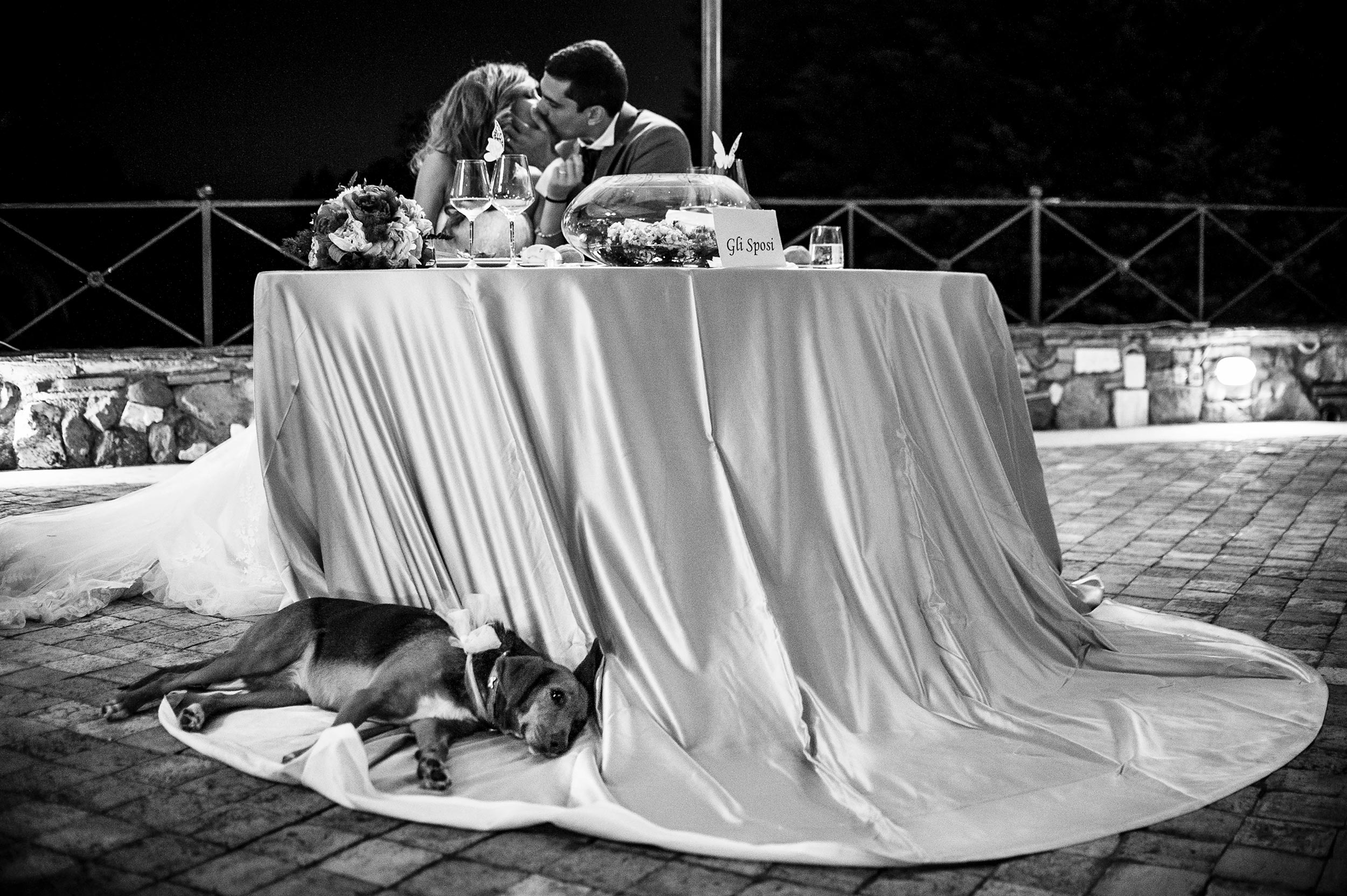 bride-and-grooms-dog-rests-under-nuptial-table-at-reception-black-and-white-wedding-photography.jpg
