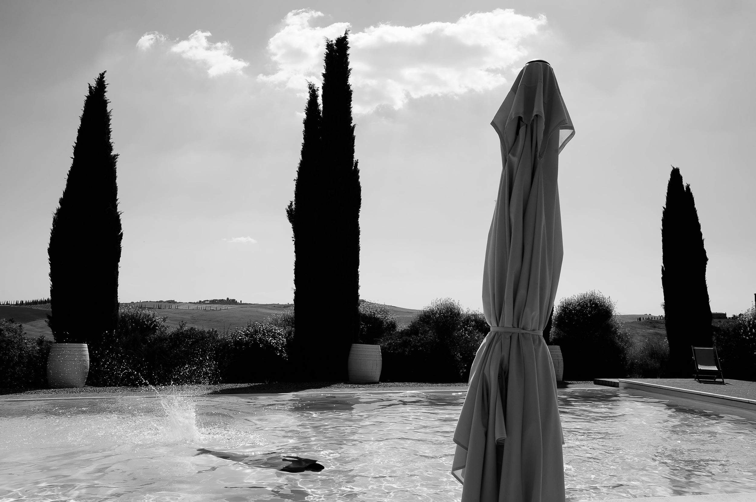 Cypresses with Black Man in the Swimming Pool in Tuscany Wedding Photographer Alessandro Avenali 2019