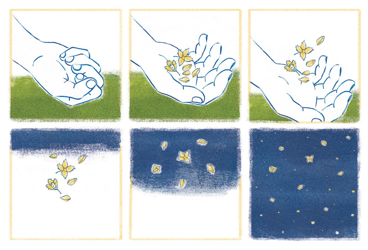 """""""You can do magic""""  - Piccola striscia illustrata ispirata a """" L'uomo che piantava gli alberi """"  © Sara Zanello Illustrator"""