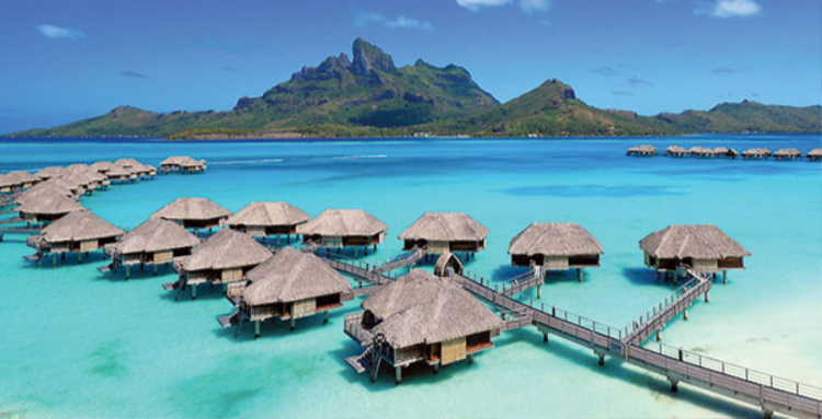 Some of the over-water bungalows found in the French Polynesian Islands of the Tahitian Islands are some of the most romantic in the world! Picture from the Four Seasons Resort in Bora Bora.