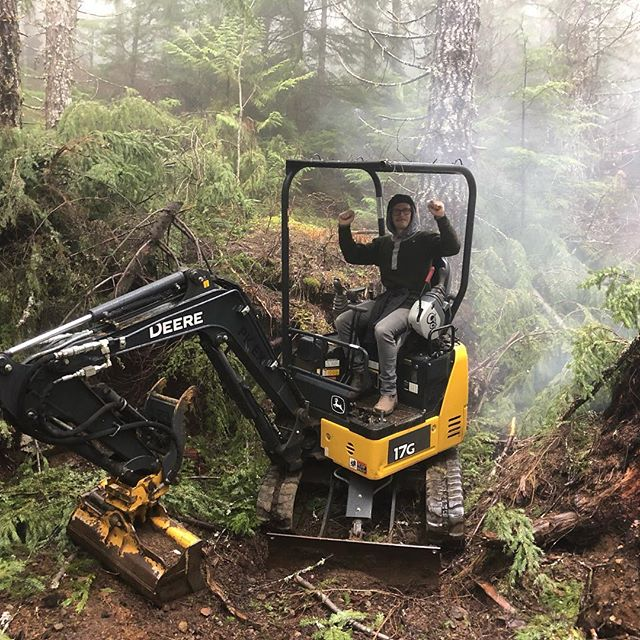 This little digger spent the winter halfway up the mountain under a blanket of snow... couple glows and it fired right up, allowing our crew to do a spring tune up on Meadow of the Grizzly. Tune up now complete, trail is open and running sweet, go get it! @squamishbikes