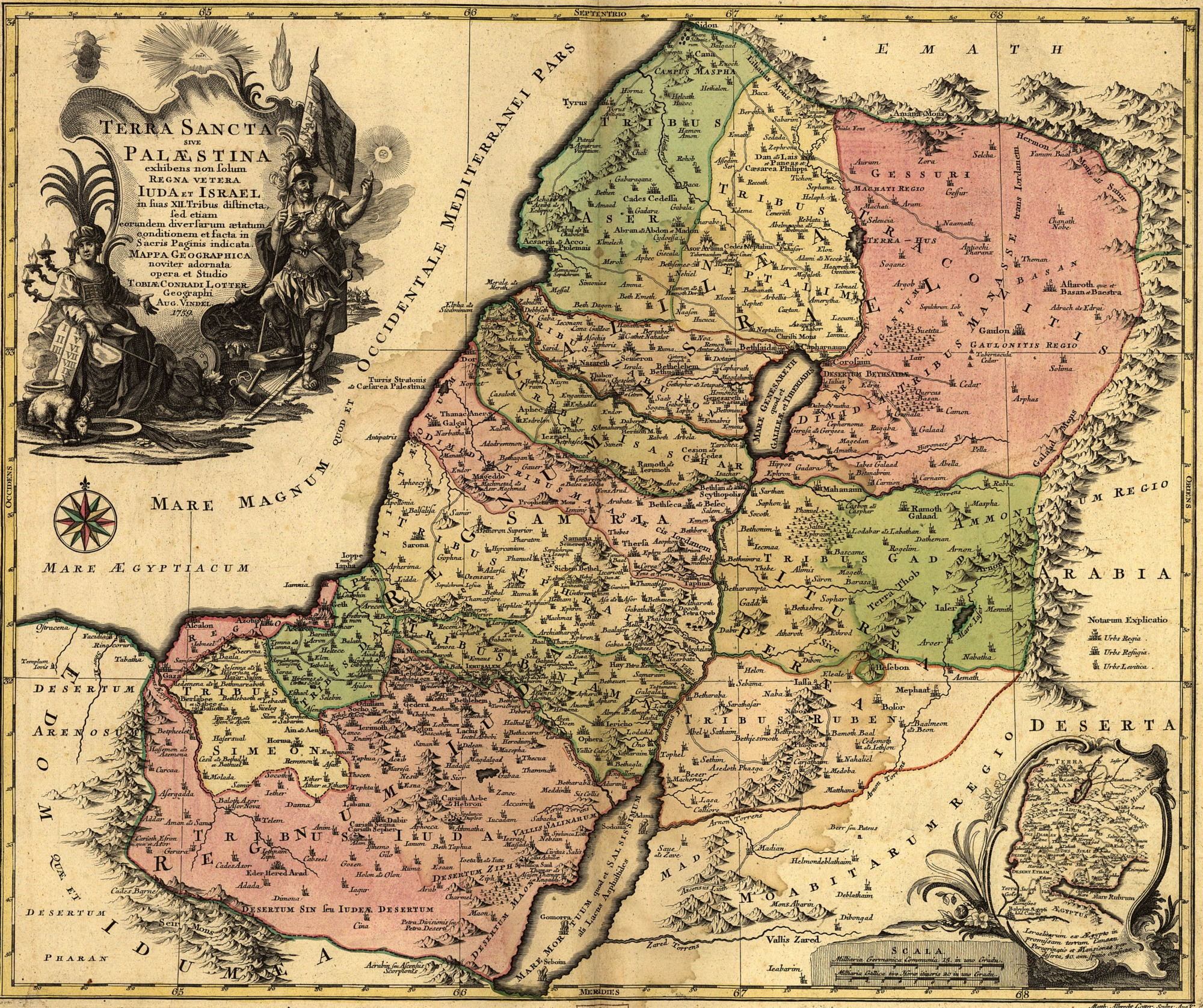 1759 map of the tribal allotments of Israel