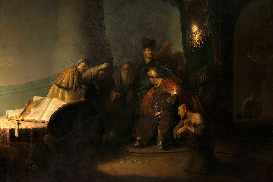 """Judas returning the thirty silver pieces"" by  Rembrandt"