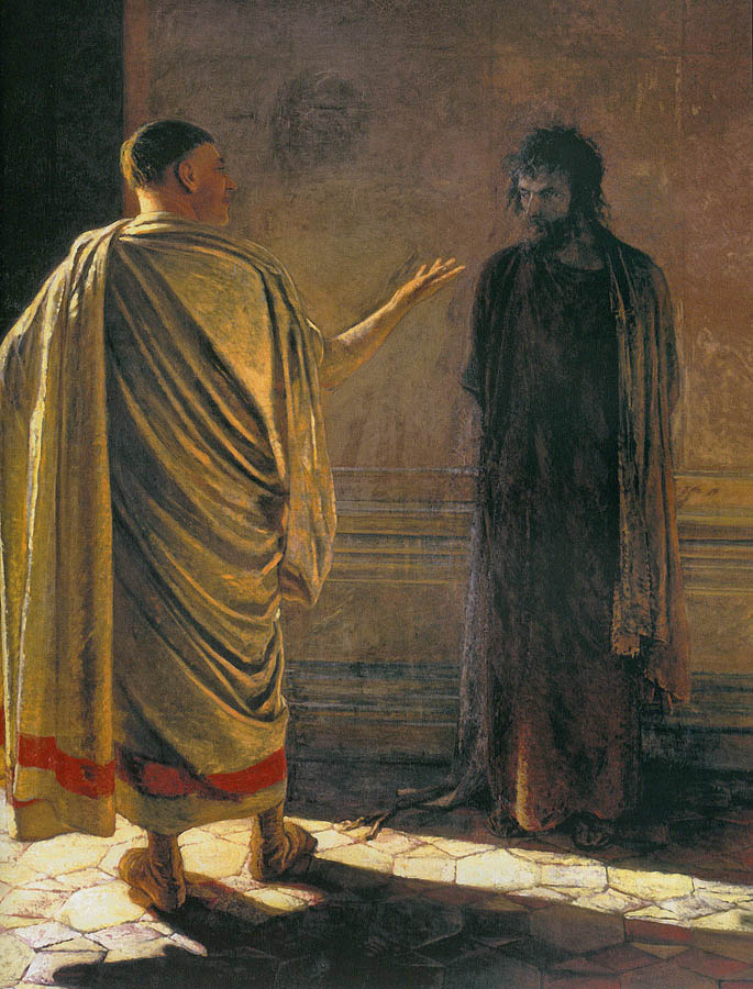 """Nikolai Ge , Christ and Pilate (""""  What is truth?  """"), 1890"""