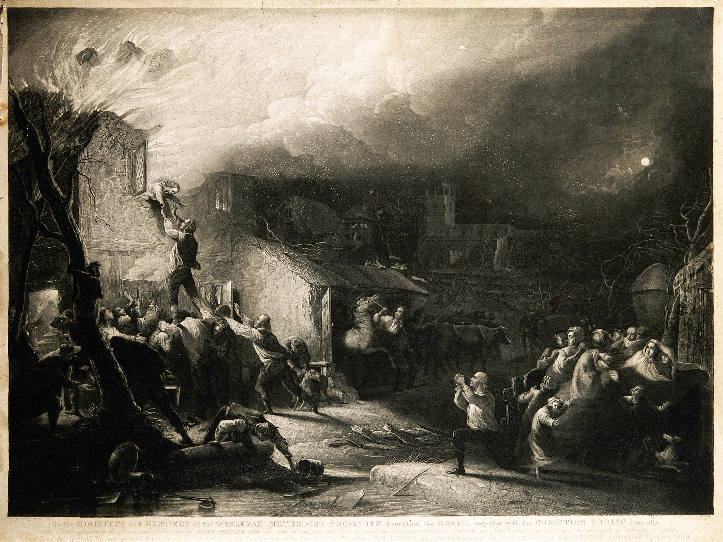 The rescue of the young John Wesley from the burning rectory. Mezzotint by  Samuel William Reynolds .