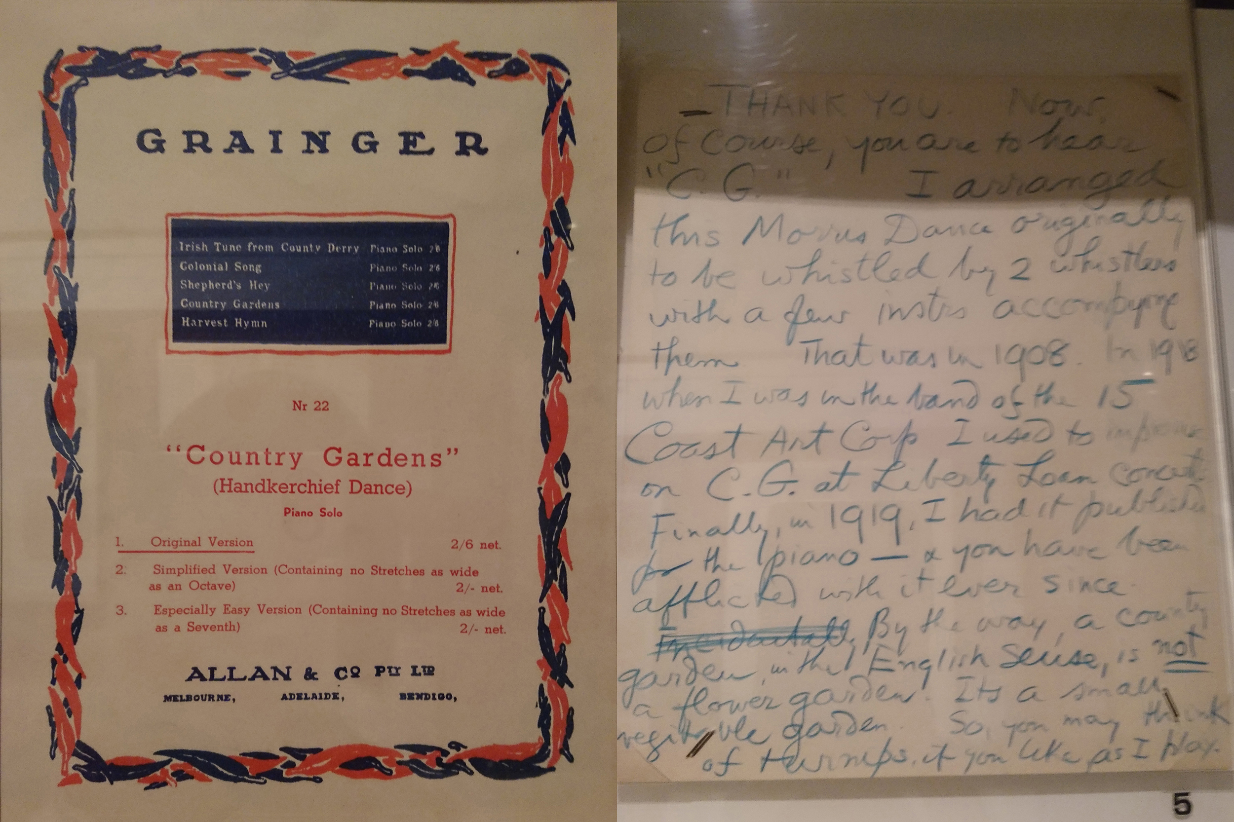 Both photos taken by Serene at the Grainger Museum. RH: Grainger's draft speech for introducing his performance of Country Gardens, c. 1937