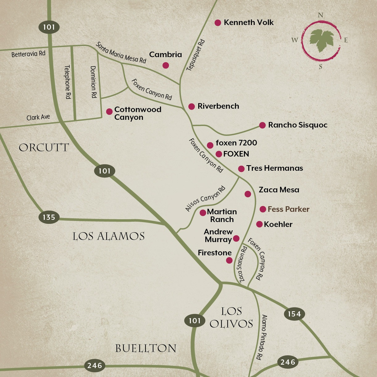 Foxen Canyon Wine Trail Map -