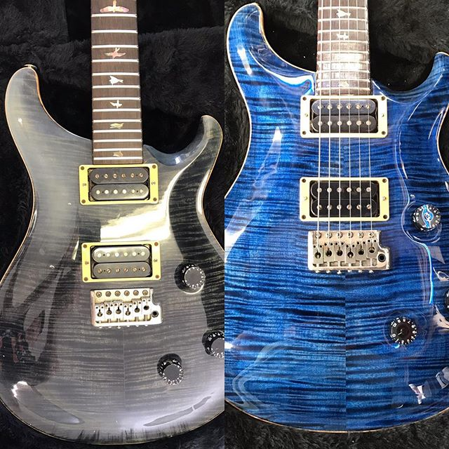 Check out the before and after shots of this PRS guitar once she got a Godfather Guitars refinishing.  The original clearcoat had fogged over so bad in some areas that you couldn't see through it(upper left). Hidden underneath was a beautiful flamed maple top PRS is known for...whatcha think?