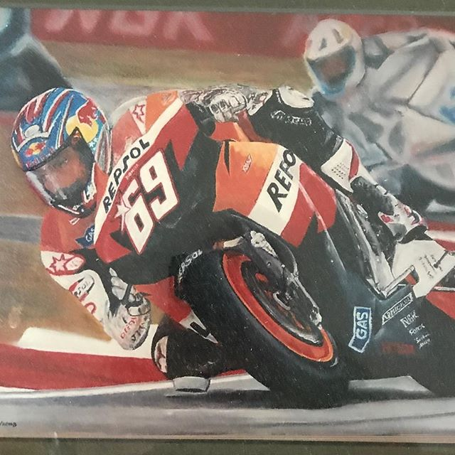 I'm a be fan of MotoGP racing which is happening right now in Austin Texas as I post this (bein sports). They just had a nice tribute to the late great Nicky Hayden.  Here is a painting I did of him back in 2008.  He was one of America's finest racers on two wheels.