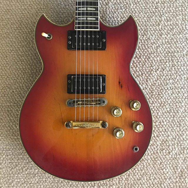 "Here is a new favorite, an Yamaha SG1000 that belongs to Martin, the singer, guitarist of #theblackreds. I finished the repairs & mods and had a chance to try it out.  I added a treble bleed circuit to the pots and what a difference.  It really made the PUPS come alive.  They have a really nice ""bark"" to them now. Other things I really love about this model is the encased humbuckers. They are solid as a rock and keeps the crud out, plus have double adjustment screws in one side to keep the PUP square to the strings. The tailpiece has some nice detailing which doesn't do anything for tone but it looks awesome.  And finally, the ""push-push"" tone pots are really cool. Push once to engage the coil tap, push again to disengage.  I just haven't seen this type of pot before and really like the ease of use.  If you can find one at a good price, jump on it."