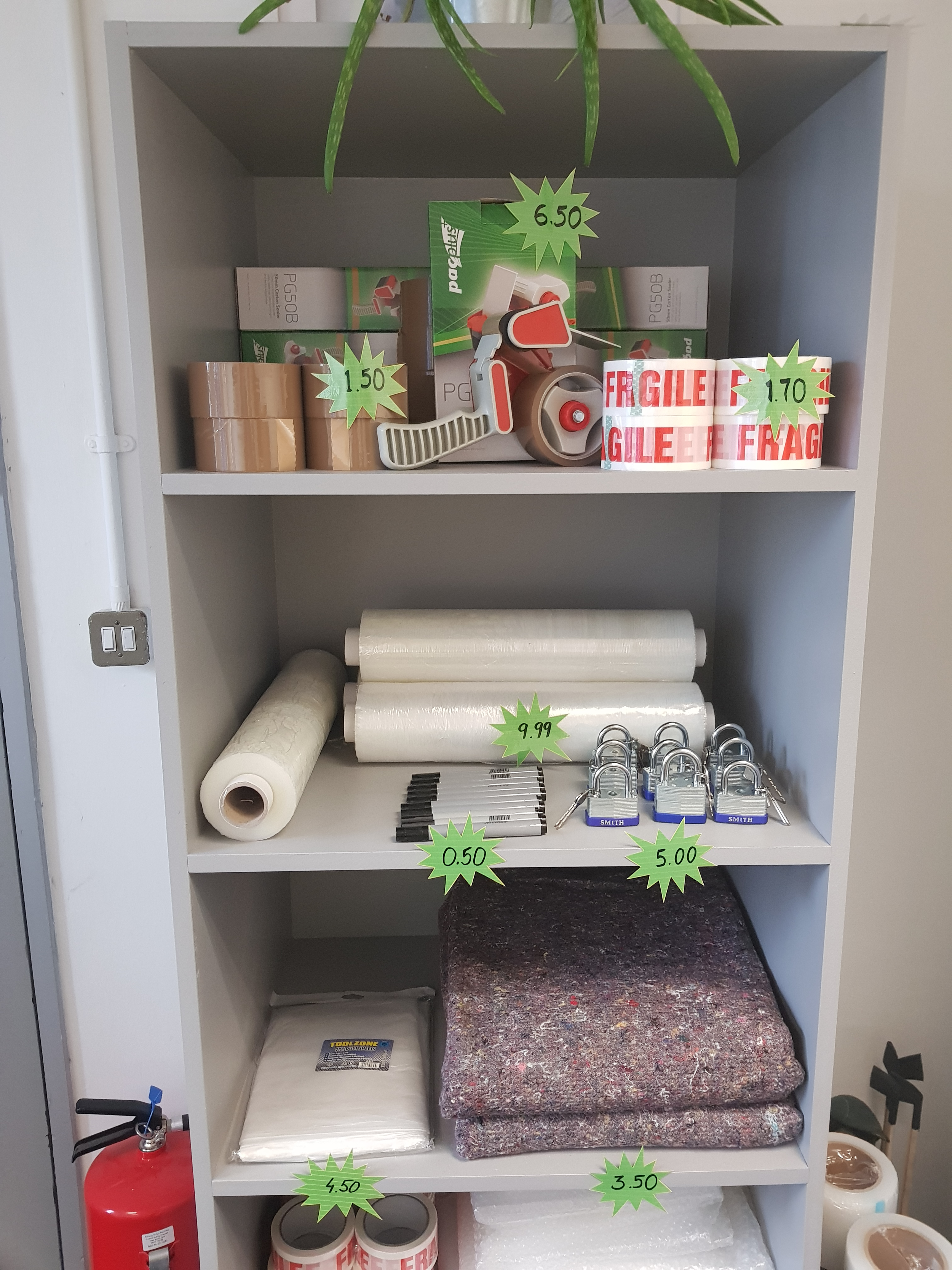 Boxes and packing materials available at umbrella office