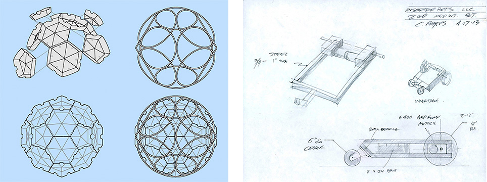 TZ'IJK.0. Early drawings of geodesia structure and the internal robotic device.