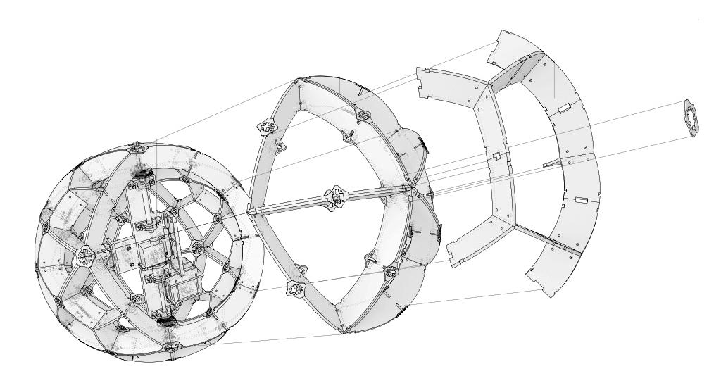TZ'IJK.2.  Prototype's exploded axonometric drawing.