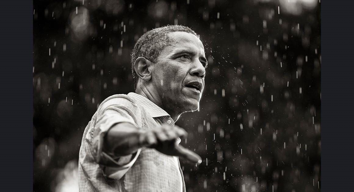 Obama Speaking In The Rain