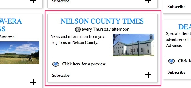 The Nelson County Times weekly email newsletter i  s free.  Go here to sign up.