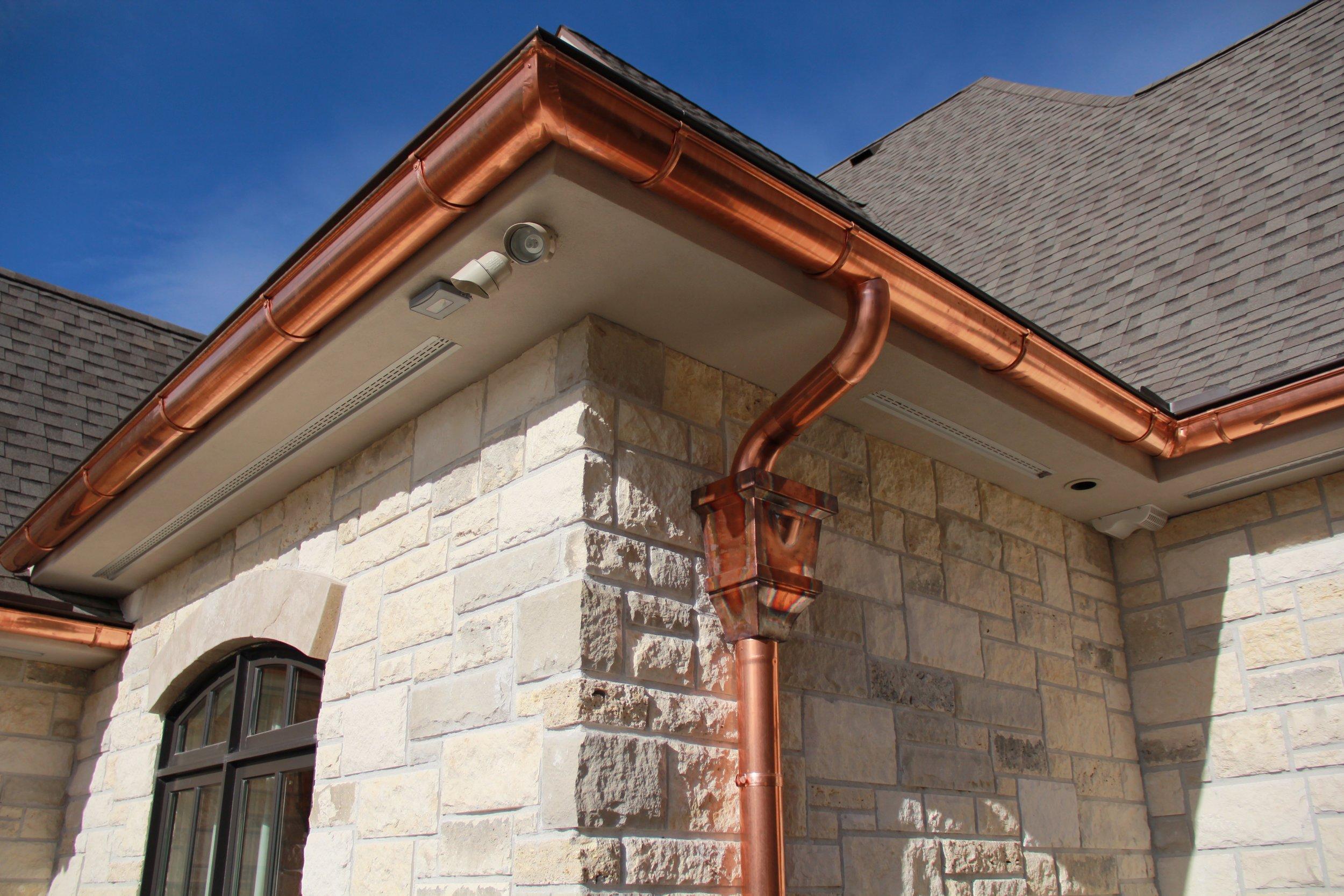 half round gutters copper