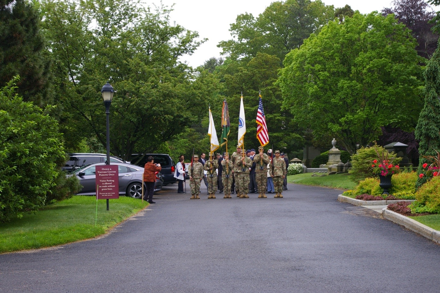 The Color Guard and VAFCC members line-up for the march to the monument.