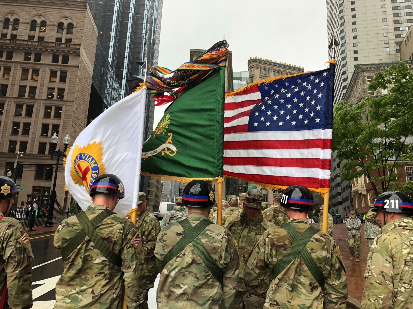 Commander and Color Guard, 21th MP BN (FCC), Prepare to March
