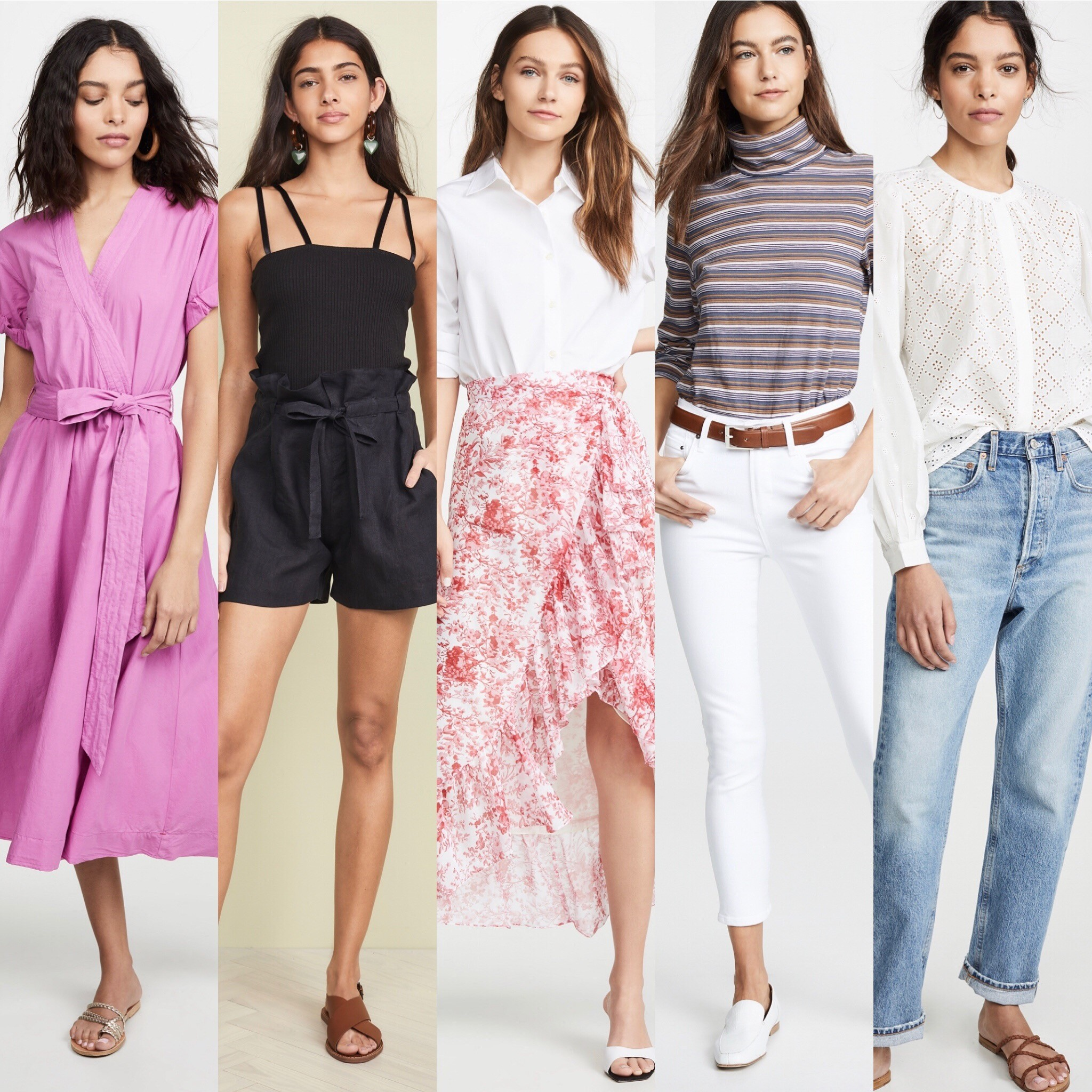 All styles can be found @shopbop online. Mon: xirena. Tues: therangenyc, nililotan. Wed: kule, costarellos. Thurs: madewell, citizensofhumanity. Fri: joie, agolde.