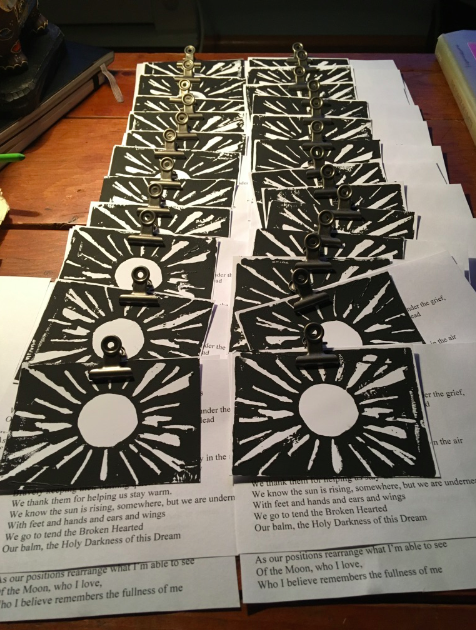 Block prints and copies of poems for all the participants