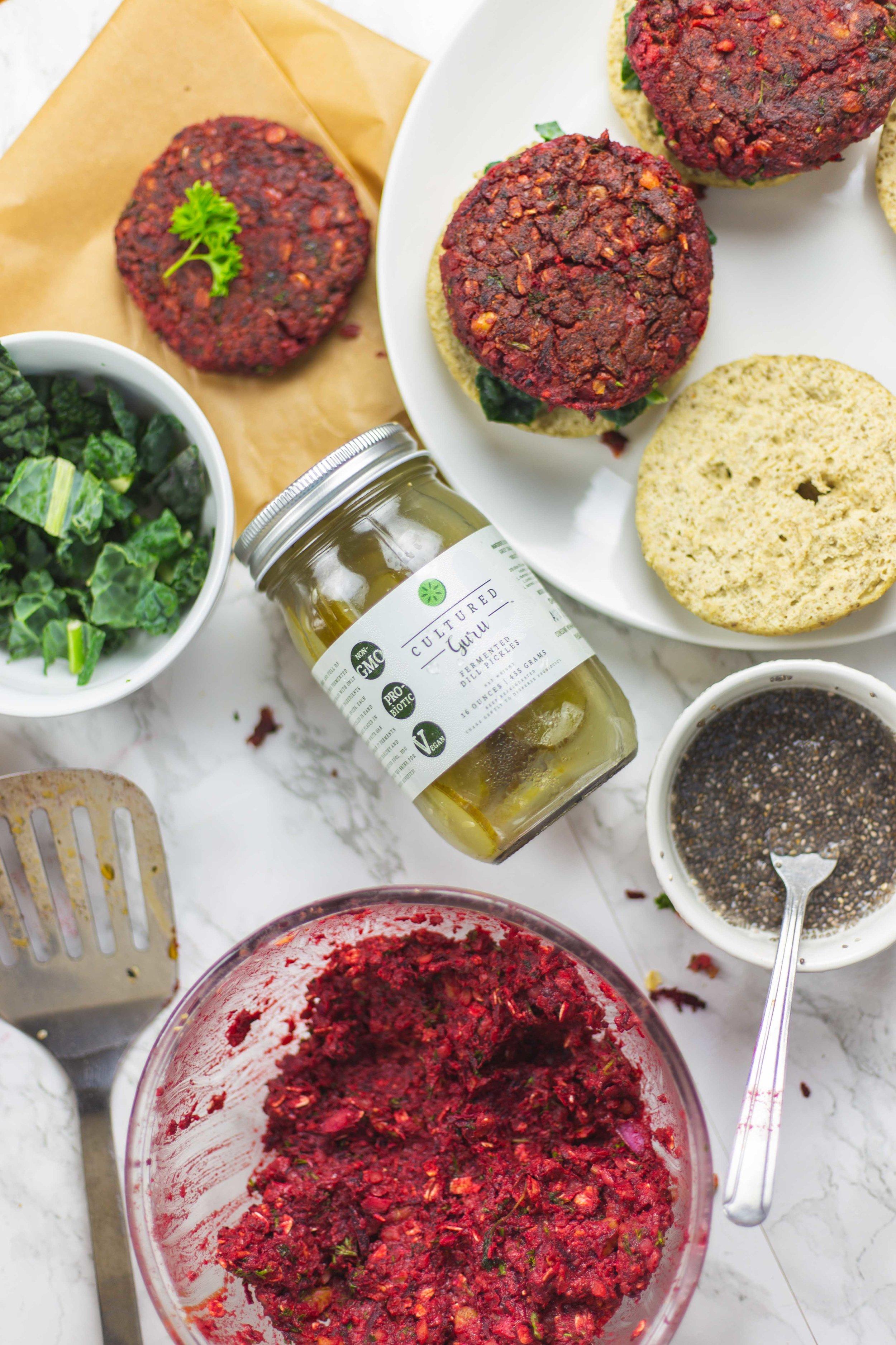Vegan Beet Burger Recipe | The Ultimate Grillable Vegan Burgers with Fermented Pickles