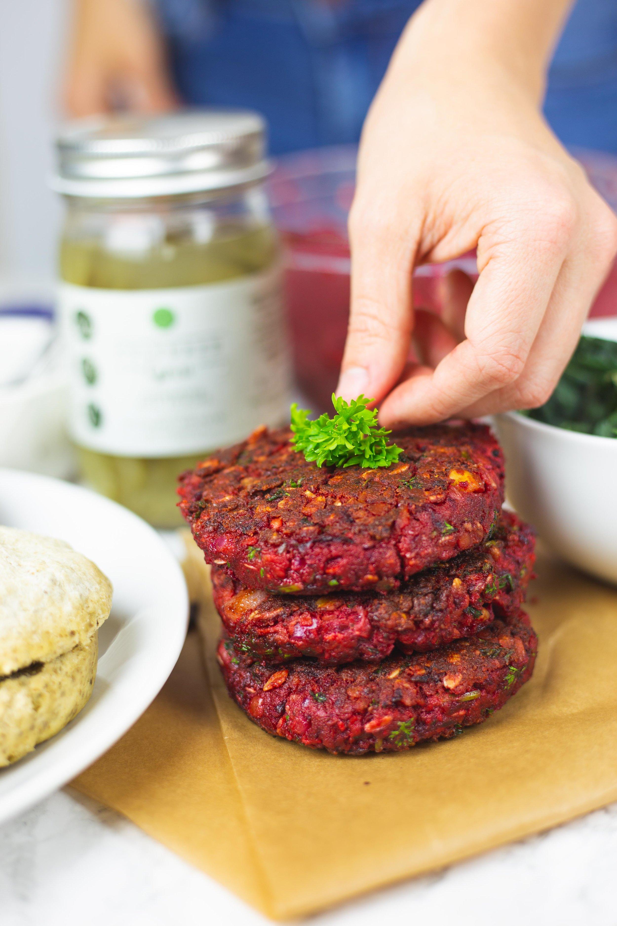 The Ultimate Beet Veggie Burger | Vegan Beet Burger Recipe | Grillable Veggie Burgers with Fermented Pickles