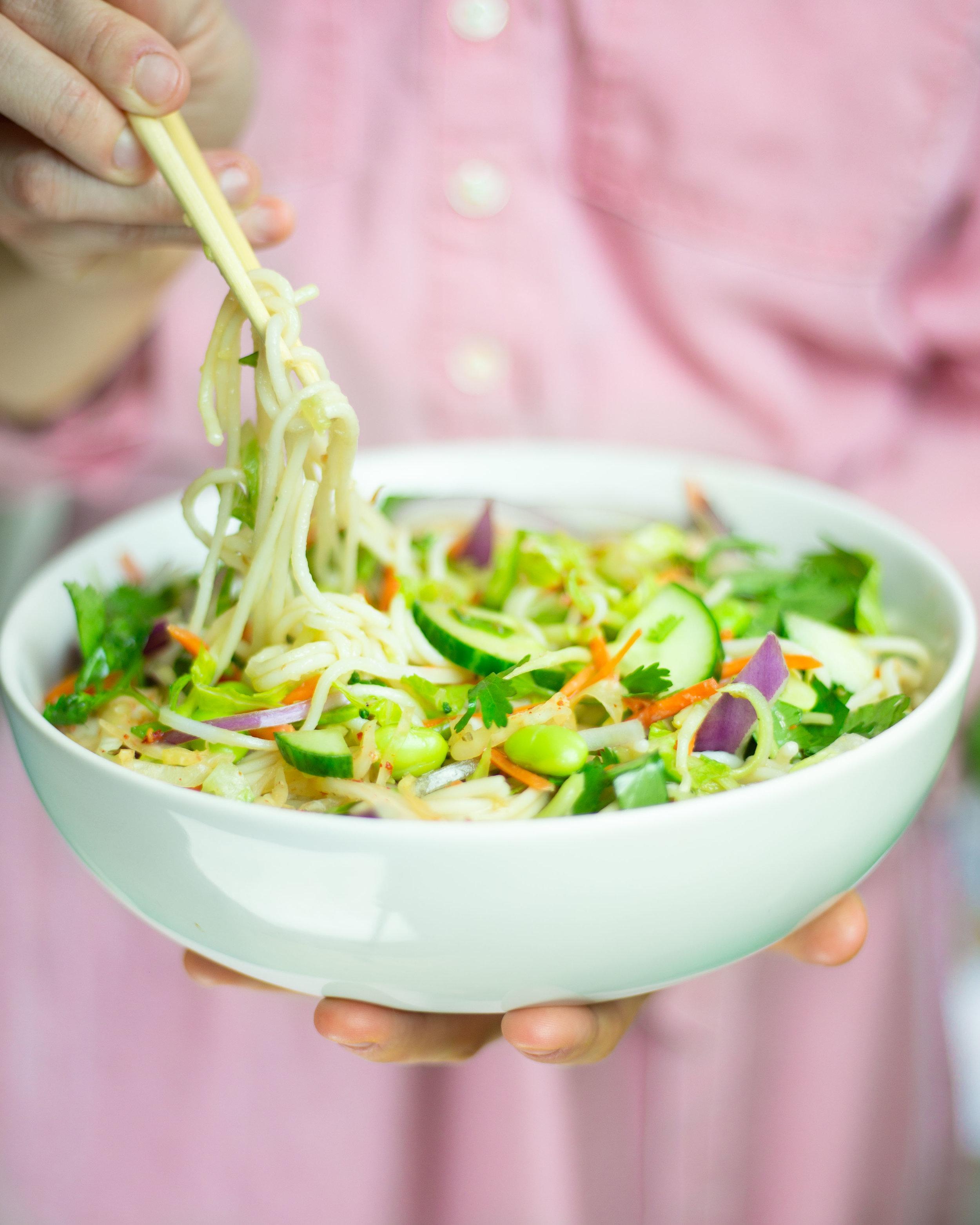 Noodle Salad with Cultured Guru Kimchi