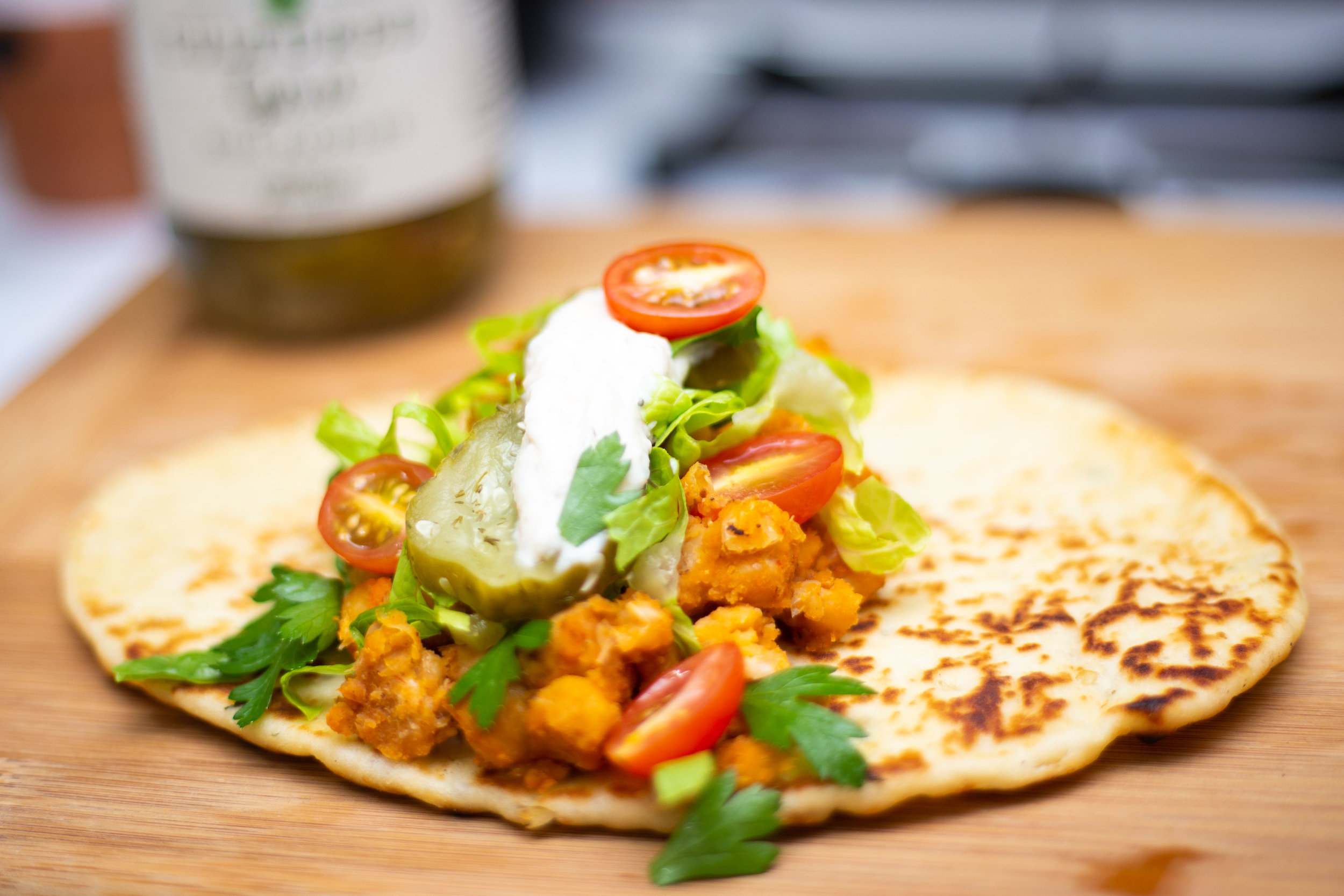 Buffalo Chickpea Wrap Recipe with Fermented Dill Pickles