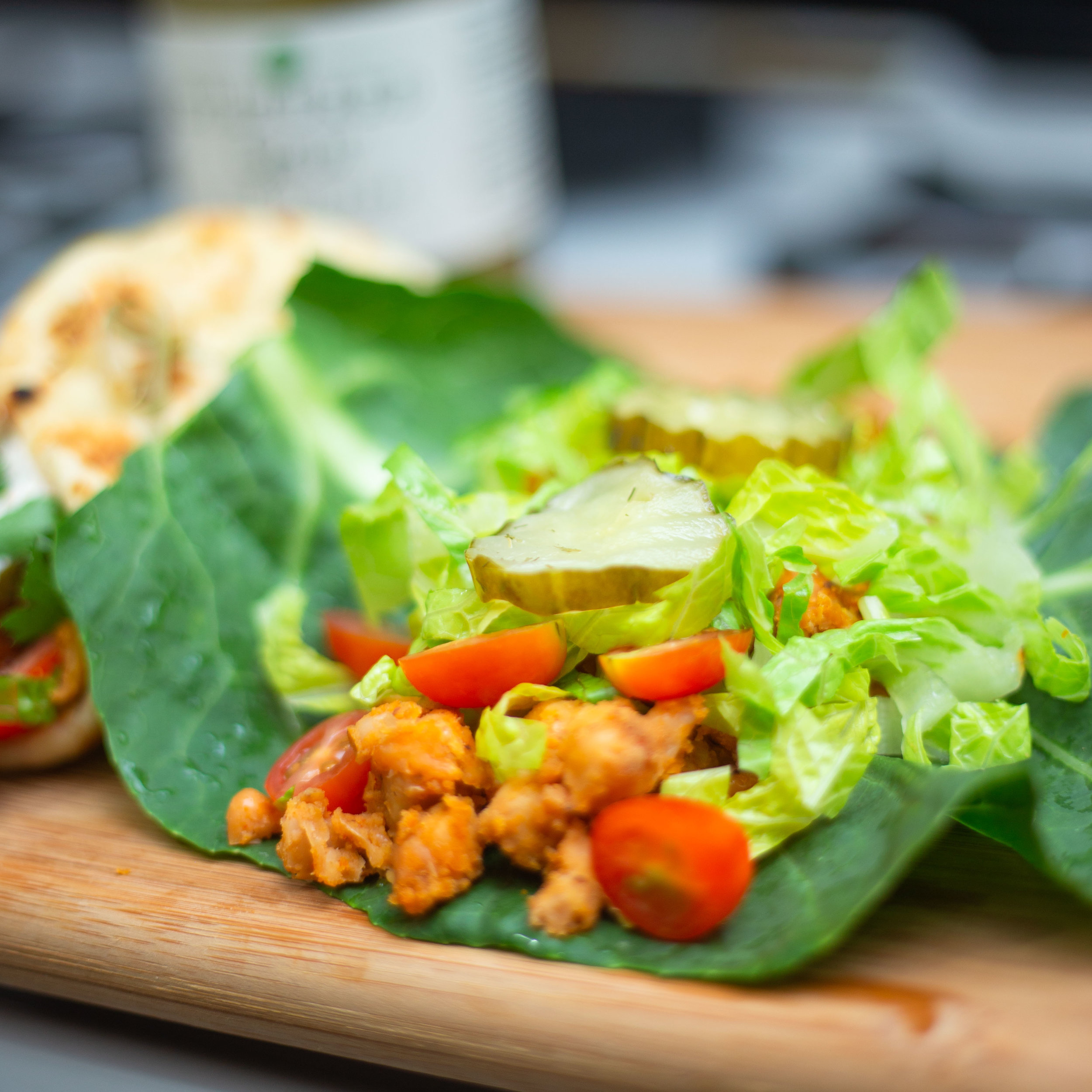 Gut Healthy, Vegan Buffalo Chickpea Wraps | Low Carb Buffalo Chickpea Wrap Recipe with Fermented Dill Pickles