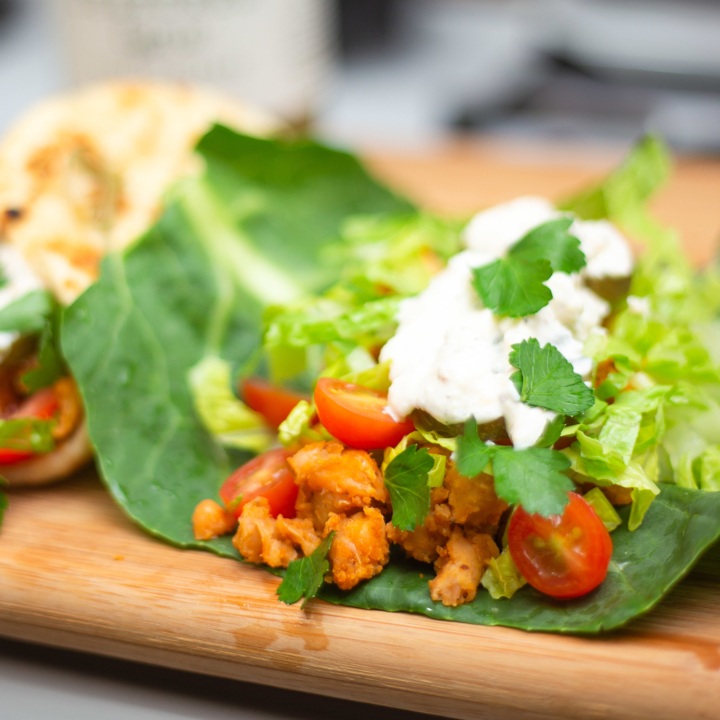 Gut Healthy, Vegan Buffalo Chickpea Wraps