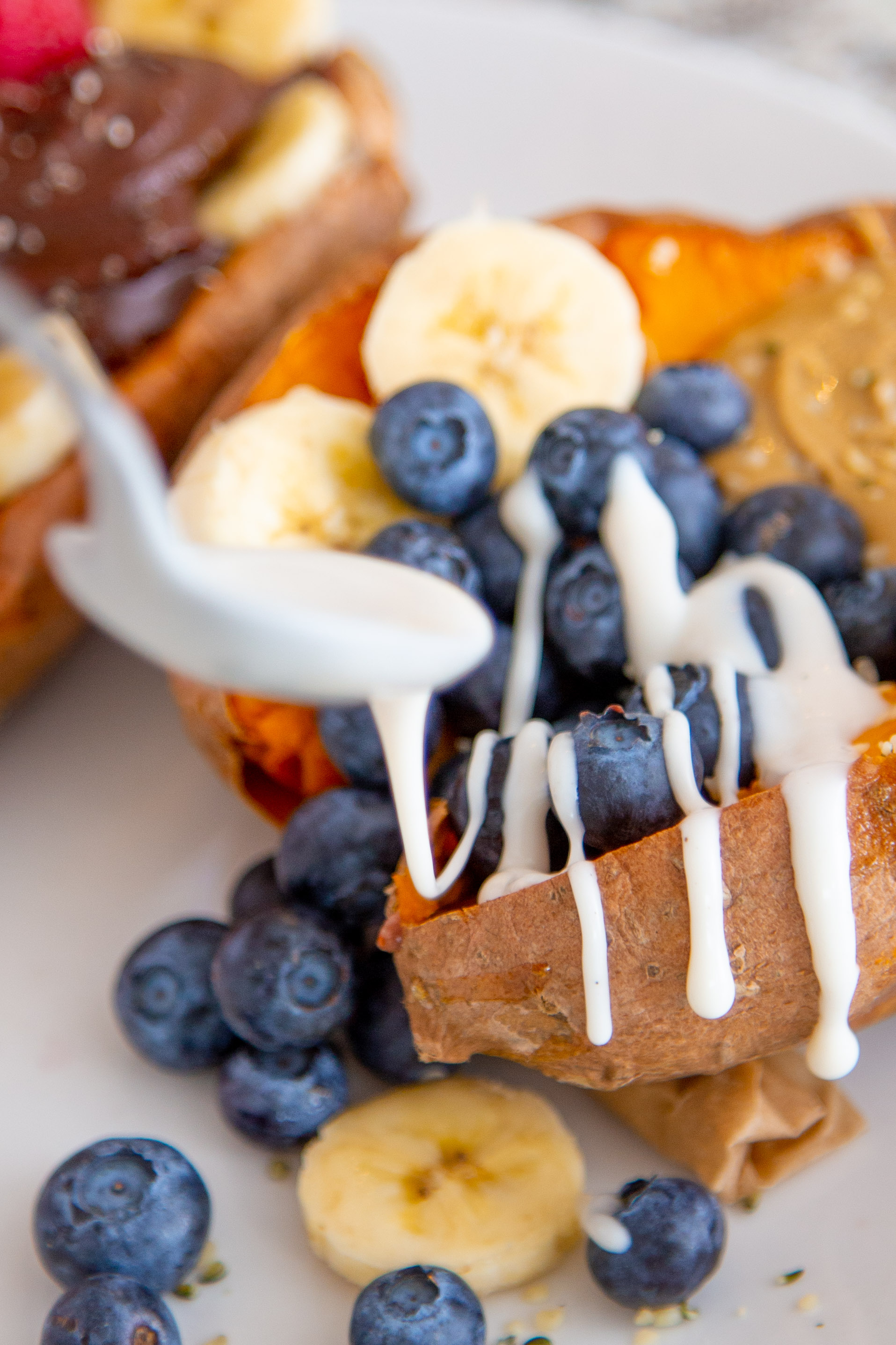 Blueberry Banana Loaded Sweet Potato with Vanilla Sunflower Seed Butter