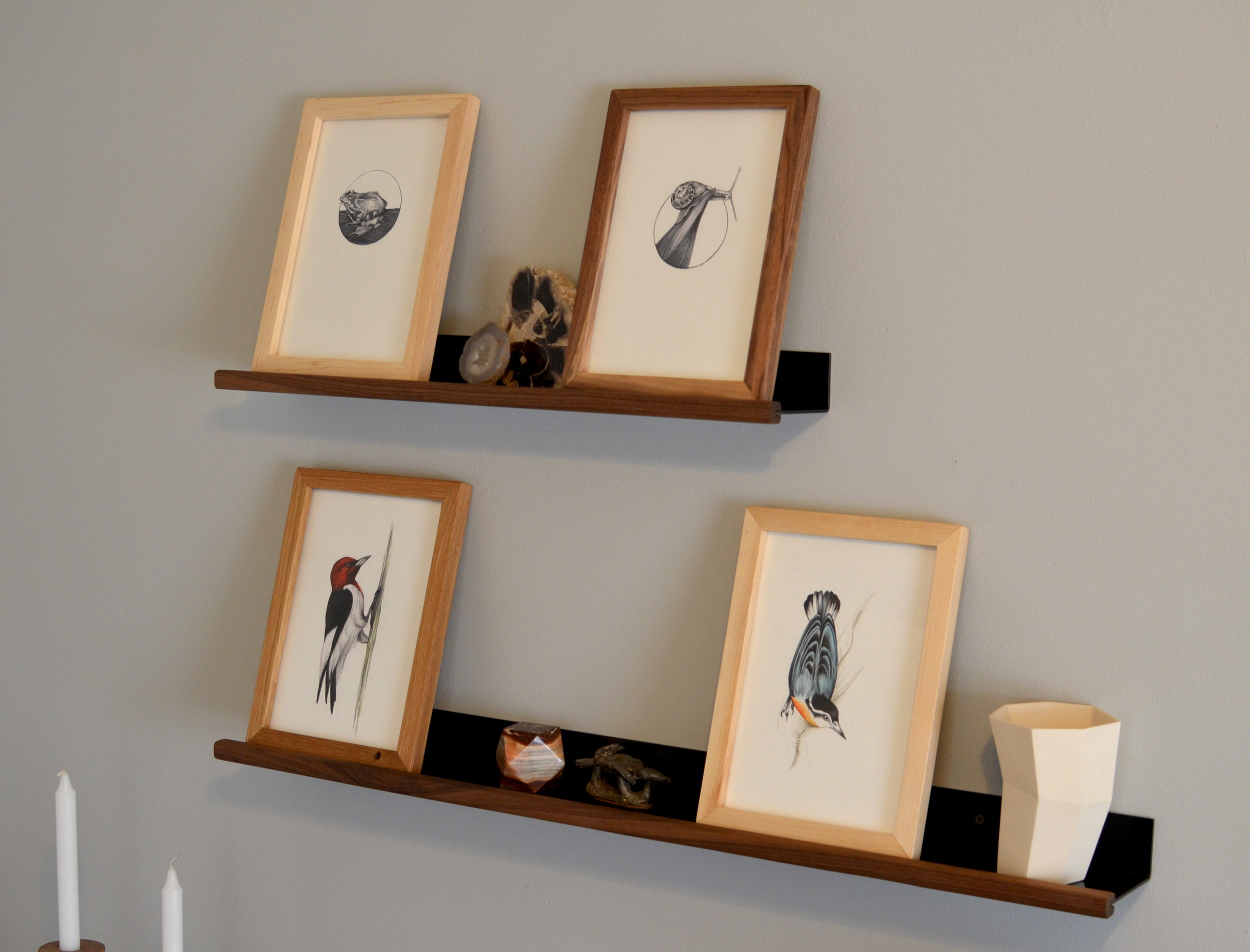 DISPLAY SHELVES - These light weight shelves make a perfect wall display. Giving you the ability to change and rearrange your favorite family photos and art work. These shelves are available now in 2 and 3 foot lengths. They can be custom ordered to suit your space, contact us for more details.Available Now!Contact us for prices, custom sizes available.