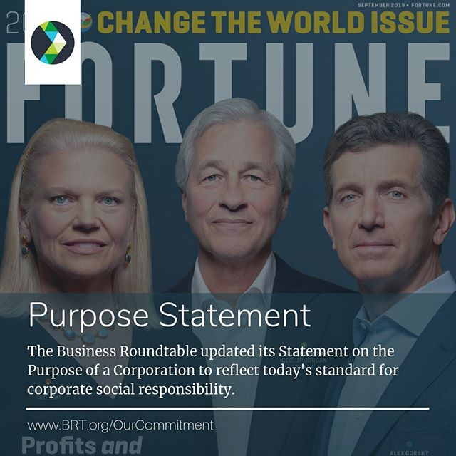"💼The Business Roundtable, an association of America's most influential corporate leaders, has a new statement on the purpose of a corporation - shifting its focus from shareholder value, to stakeholder value. The statement was signed by 181 CEOs committed to leading their companies for the benefit of all stakeholders - customers, employees, suppliers, communities and shareholders.⠀ 🖋️📜""Society gives each of us a license to operate. It's a question of whether society trusts you or not."" - Ginny Rometty, IBM CEO and Business Roundtable Member ⠀ .⠀ .⠀ ✅Ready to do well by doing good? RightCause can help your business identify and fulfill stakeholder value. Let's get started: 📧kwright@rightcauseconsulting.com ⠀ .⠀ .⠀ #RightCauseLLC #CauseMarketing #DoGood #SocialImpact #StrategicPartnerships #CSR #SocEnt #ConsciousCapitalism #ConsciousConsumerism #BrandPurpose #Sustainability #BusinessPurpose #PurposeStatement #BusinessRoundtable #CEO #StakeholderValue"