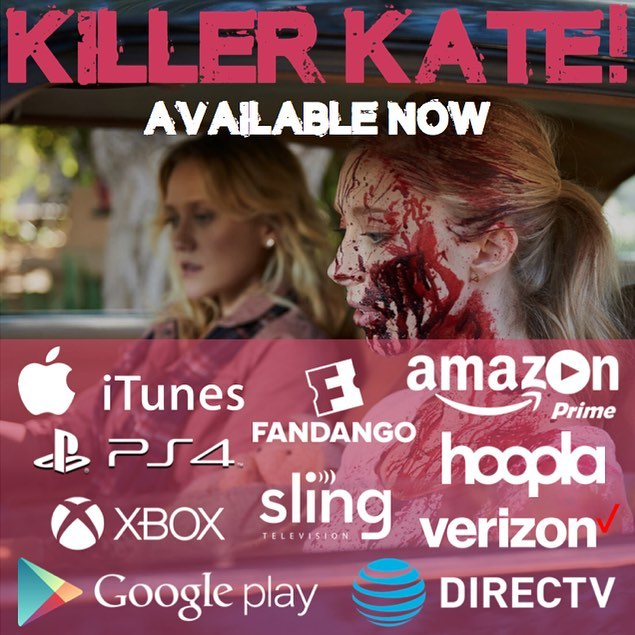 Killer Kate! is available to rent and own all day everyday! . . . . . #killerkate #killerkatemovie #danielleburgess #alexandrafeld #horrorcomedy #horror #comedy #indiefilm #itunes #amazonprime #grindhousemovies #johncarpenter #strangerthings #christmasgifts #samrami