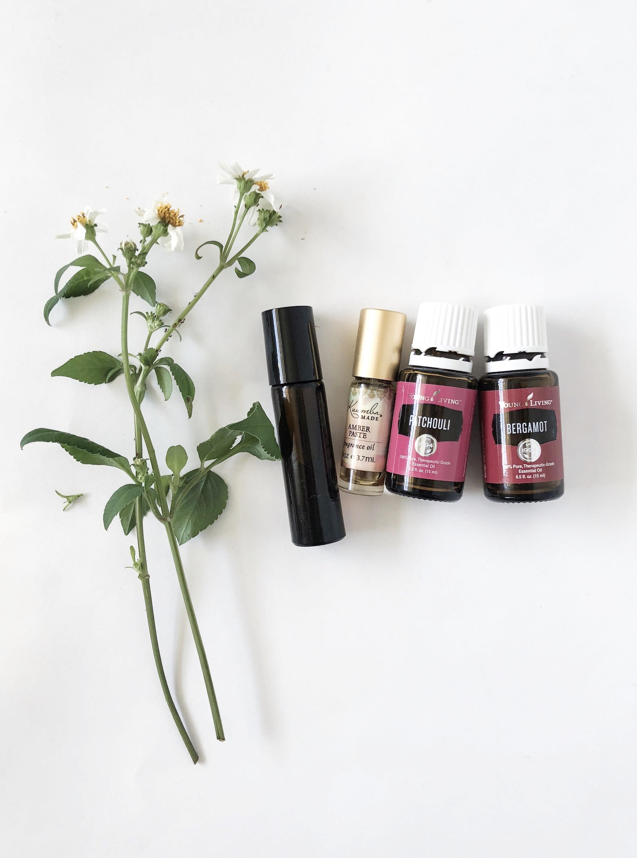 patchouli and bergamot perfume roller bottle