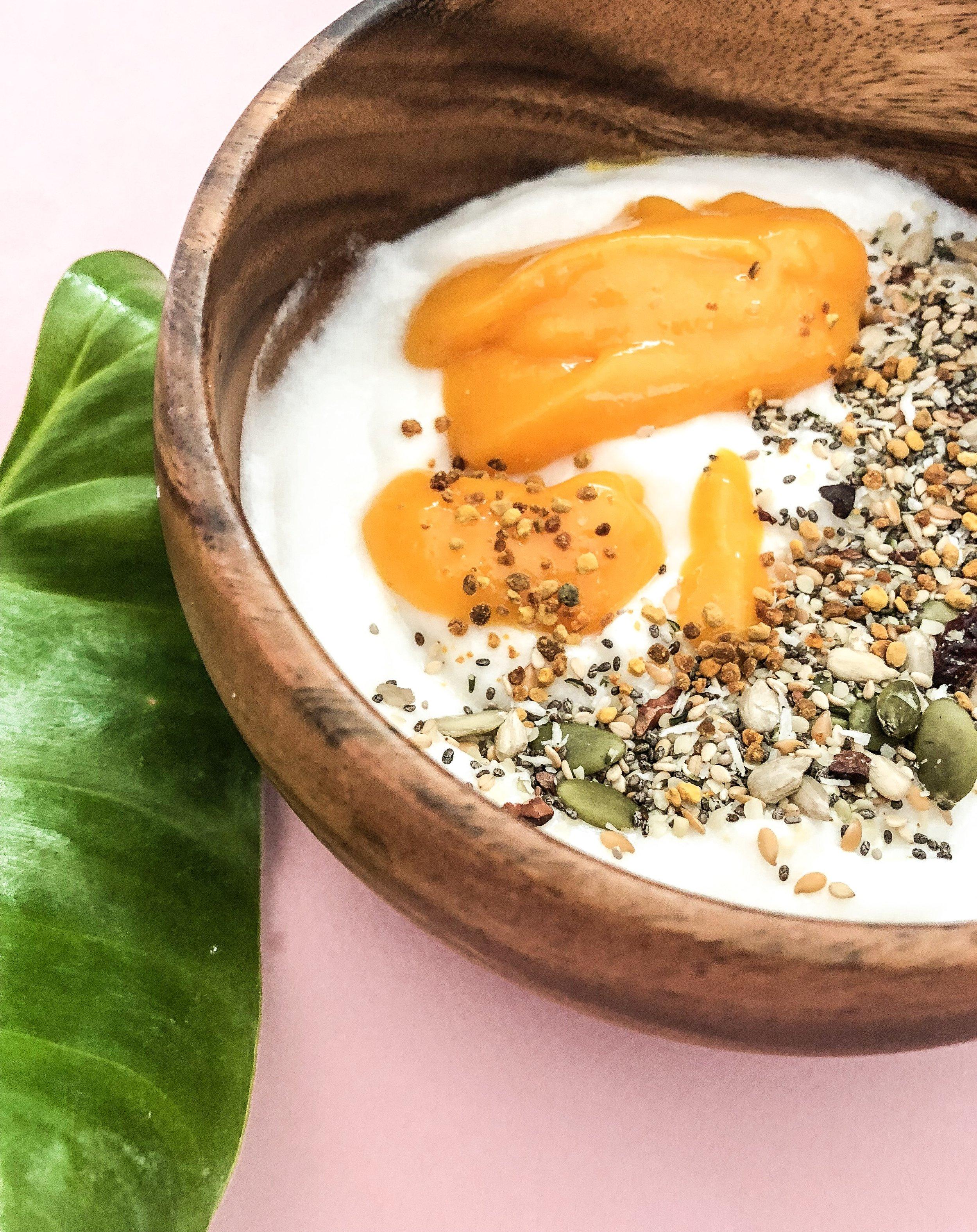coconut yogurt with bee pollen and burcha.jpeg