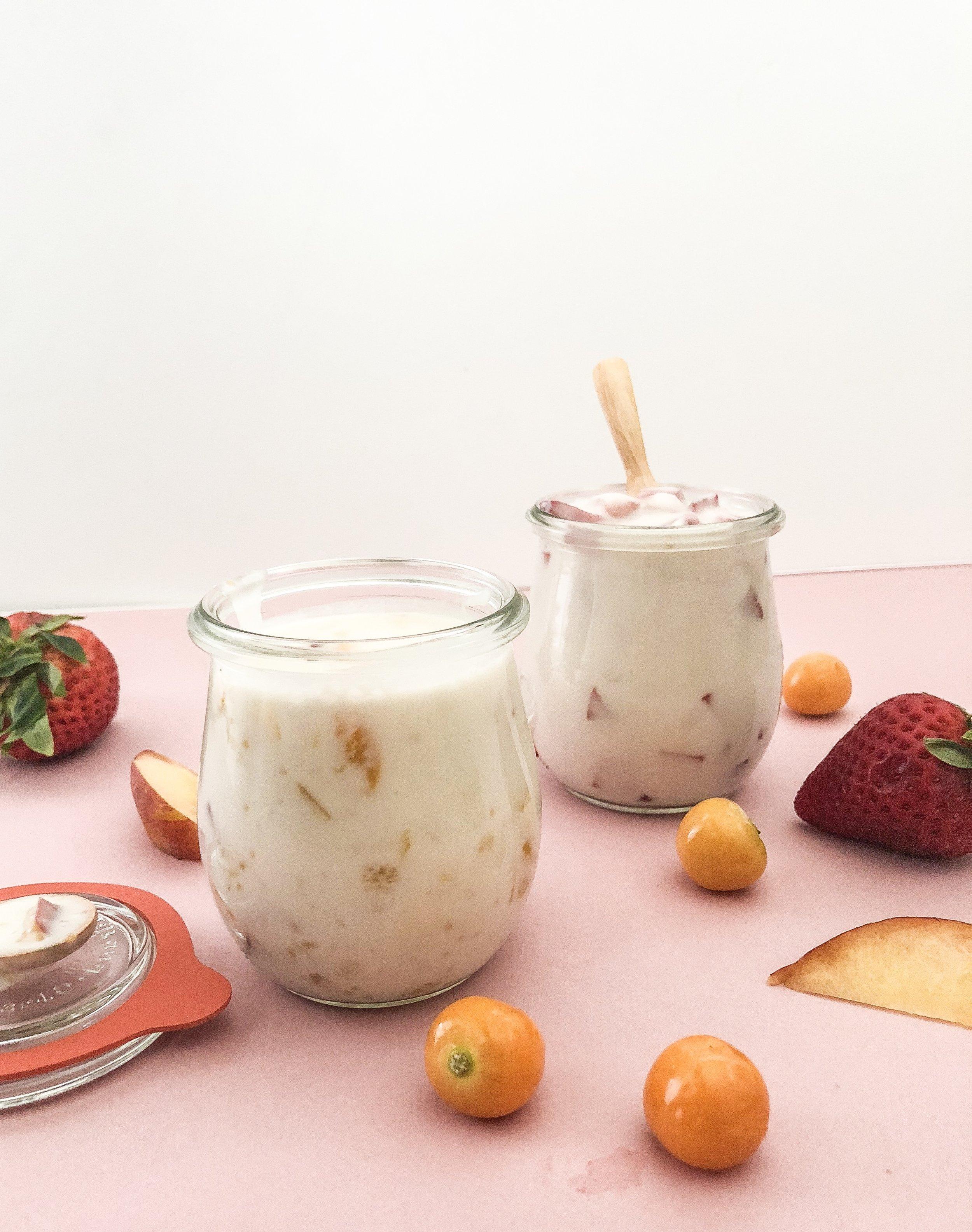 Gooseberry Peach & Strawberry Maple Coconut Yogurt -