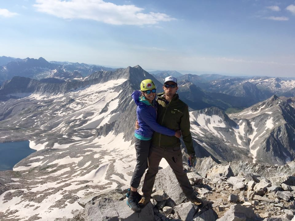 Happy on top of Capitol Peak in our matching shoes.