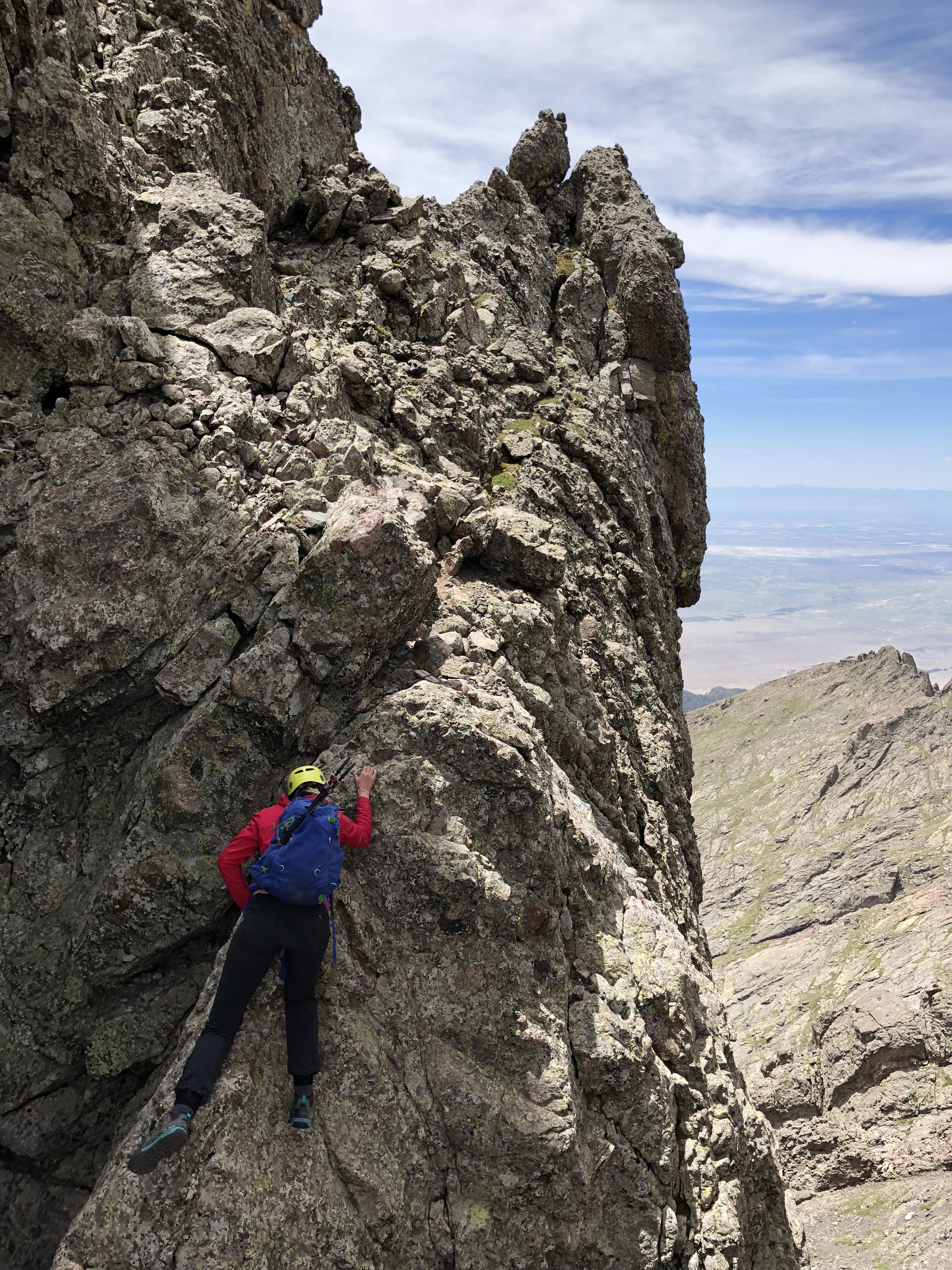"""On the """"knife edge."""" This actually got my heart pumping more than the headwall exposure wise"""