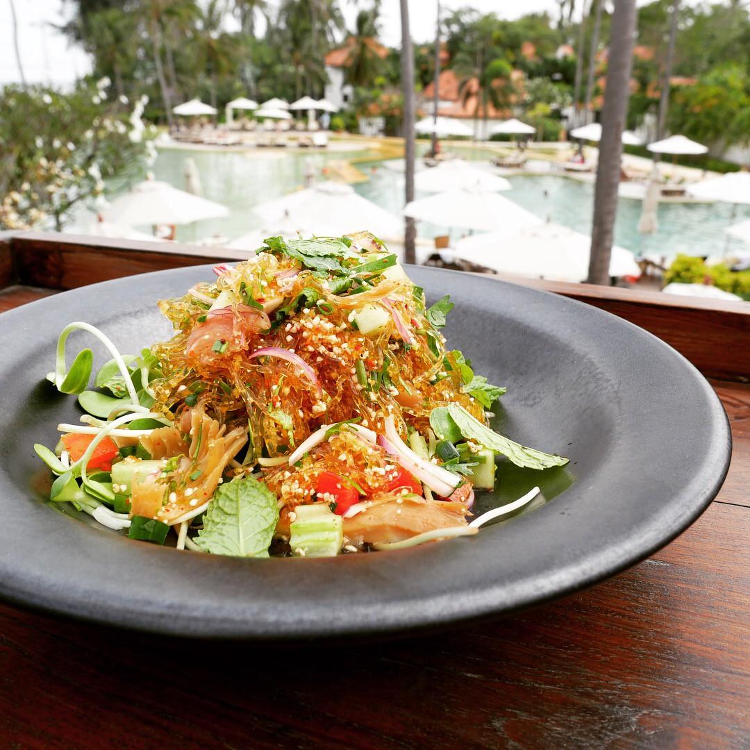 Spicy Kelp Noodles Salad at the Swimming Pool Bar — Evason Hua Hin resort