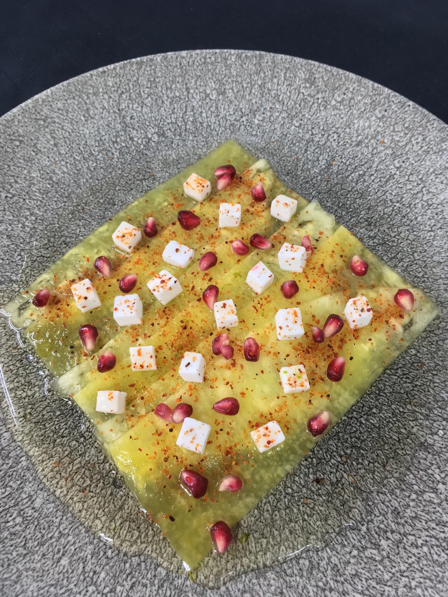 Pineapple Carpaccio, Yuzu Syrup, Pomegranate, Just like Feta, Tajin Spices by Franck Garanger — Apollo Group