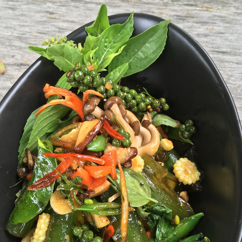 Fresh herbs, green peppers, jade noodles and mushrooms — Green Thai Cuisine — Blue Lotus Hua Hin
