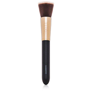 flat-top foundation Brush   If you use cream or liquid foundation, an expertly designed foundation brush is a must have. The brush comes designed with a flat-top brush head which is ideal for blending foundations into your skin, aiding in preventing lines for a perfect airbrush finish. The flat top also lets you build color, so you can achieve anything from a subtle glow to a full-coverage look.   Try:  glominerals Luxe Foundation Brush