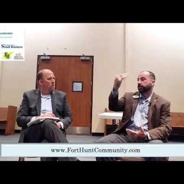 Frazier interviewing Dan for Fort Hunt Community Business Association