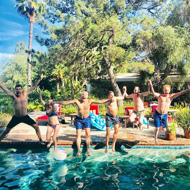 Jumping into @jeff_st_john 's birthday with a splash!! 💪🏻☀️🎂wonderful day laughing and celebrating with great folks in honor of an incredible guy! #birthdays #friends #saturday #pooltime #laughs #goodtimes #love #life #grateful