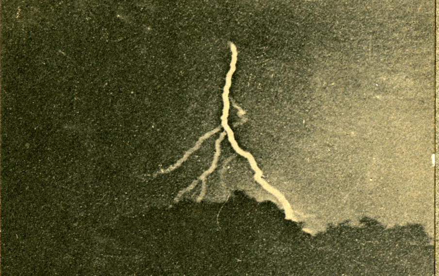The first photograph taken of lightning in 1882 by William Jennings, from the collections of   The Franklin Institute
